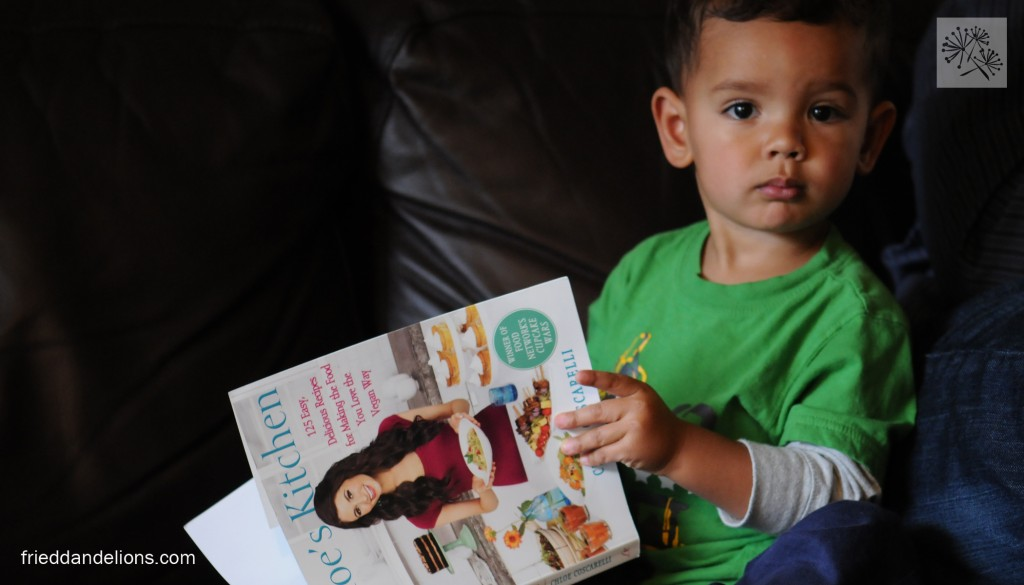 I promise you this is not staged—he grabbed the book right out of my hands.  I think I have a future chef on my hands!