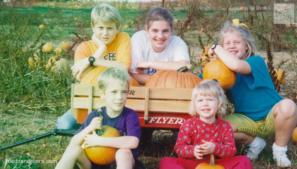 At the apple orchard/pumpkin patch with all of my siblings—circa 1994