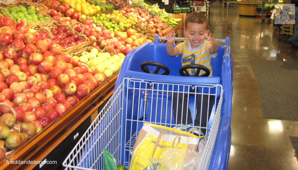 Having fun at the grocery store!