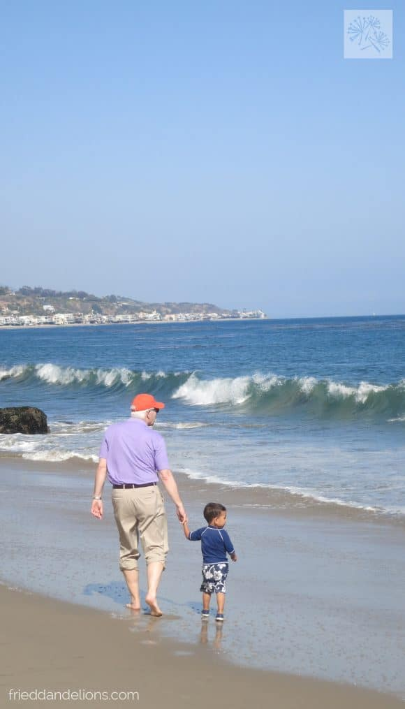 David and Grandpa at the beach in Malibu, April 2013