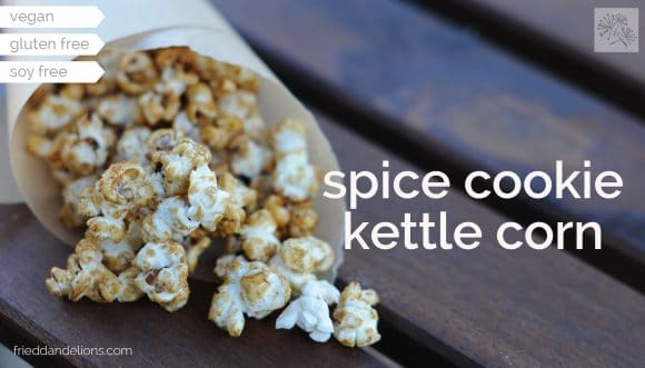 close up of Spice Cookie Kettle Corn with text overlay