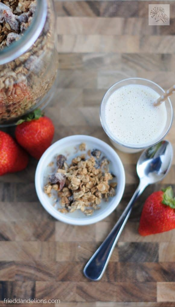 overhead view of bowl of Salted Caramel Granola with glass of milk, spoon, strawberries, and canister