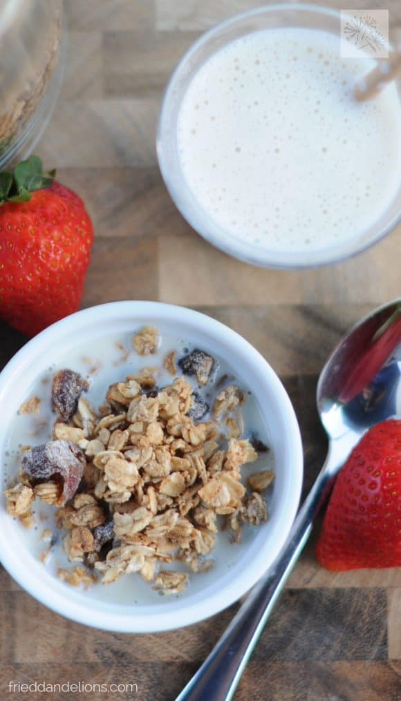 overhead shot of Salted Caramel Granola with glass of milk with straw and strawberries