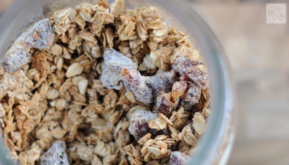 close up shot of jar of Salted Caramel Granola