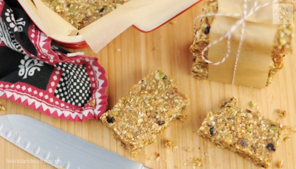 fried dandelions // pumpkin seed granola bars