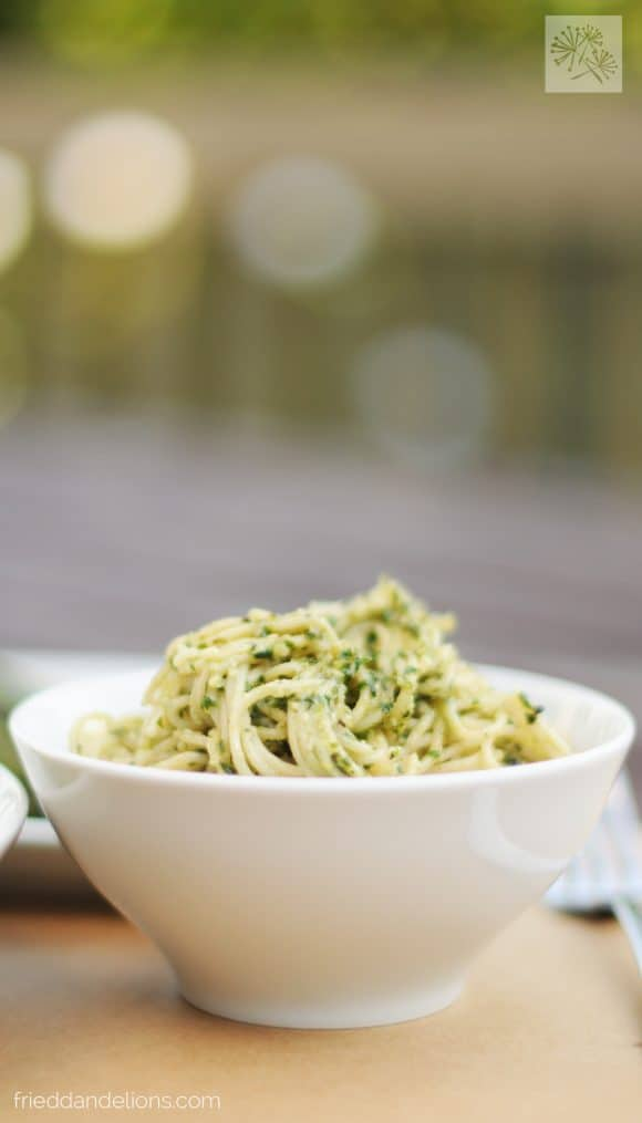 fried dandelions // classic pesto