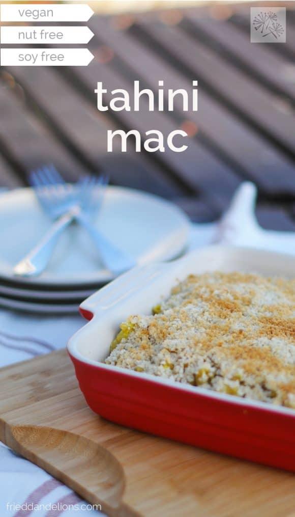 fried dandelions // tahini mac