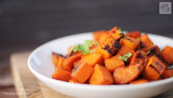 fried dandelions // maple lime roasted sweet potatoes