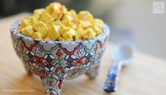 fried dandelions // fajita tofu scramble