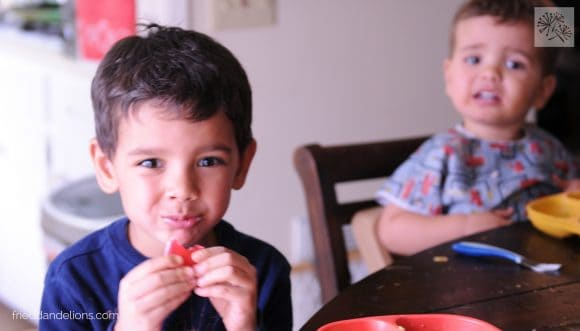 two young boys eating Vegan Jello Jigglers