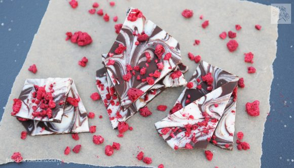 fried dandelions // chocolate swirl valentine bark