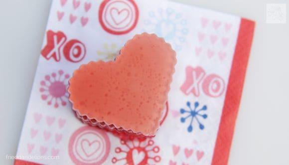 heart shaped Vegan Jello Jigglers on Valentine napkin