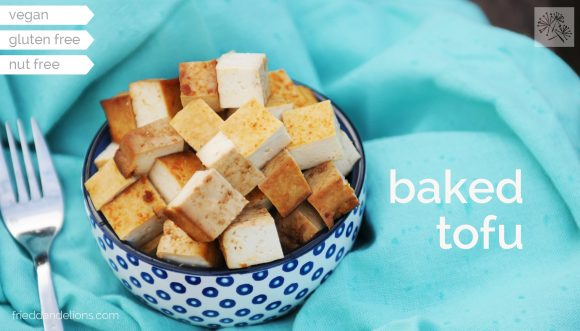 fried dandelions // baked tofu