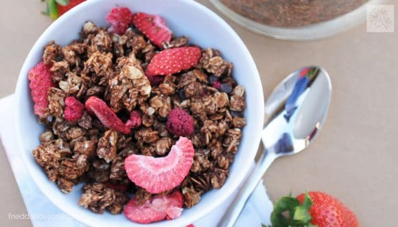 overhead view of chocolate crunch granola