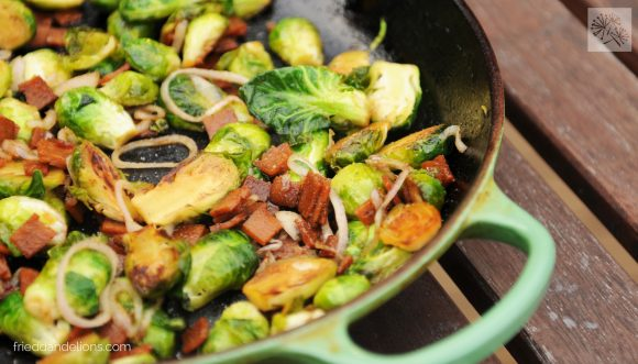 skillet of vegan brussels sprouts with bacon
