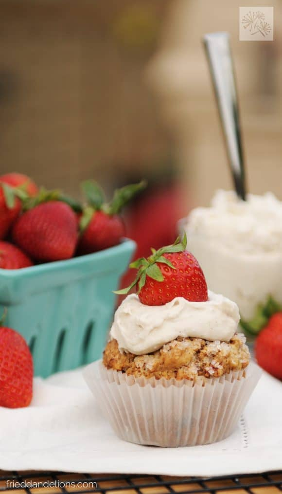 fried dandelions // strawberry shortcake cups